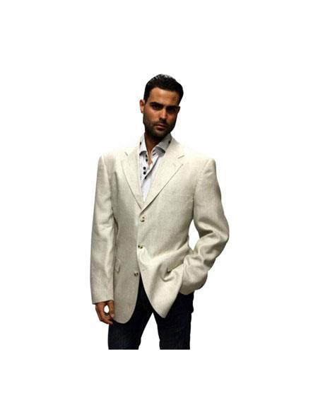Buy AP112 Alberto Nardoni Brand Mens Three Buttons Linen Fabric Summer Blazer ~ Sport coat Fabric Available White Black Tan