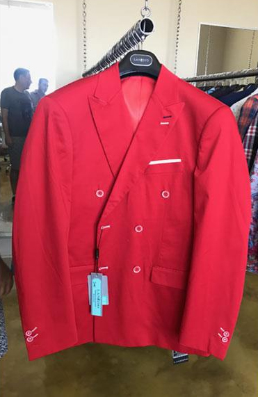 Mens Cotton Fabric Double breasted suit Red