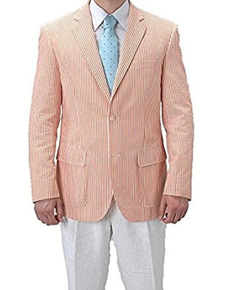 1950s Mens Suits & Sport Coats | 50s Suits & Blazers Alberto Nardoni Single Breasted Striped Seersucker Orange Blazer $120.00 AT vintagedancer.com