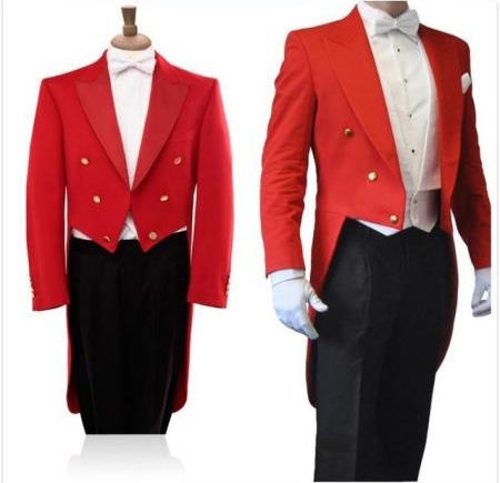 Double Breasted Red Long Cheap Priced Blazer Jacket For Men Black Pants 3 Piece Groom Tuxedos Wedding Prom Suits For Men tuxedo with tails