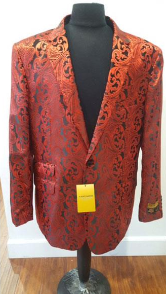 Red Buttons Closure Floral Paisley Jacket