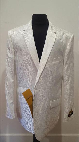 Shiny white Mens Floral Sportcoat ~ Fashion Blazer Dinner Jacket Tuxedo Looking (Wholesale Price $80 (12pc&UPMinimum))