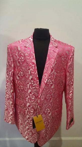 Alberto Nardoni Brand Floral Fuchsia Sportcoat ~ Paisley Jacket ~ Shiny ~ Fashion Blazer For Men Dinner Jacket Tuxedo Looking (Wholesale Price $80 (12pc&UPMinimum))