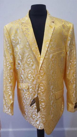 Buy CH920 Floral Sportcoat ~ Paisley Jacket ~ Shiny ~ Fashion Yellow Blazer Men Dinner Jacket Tuxedo Looking ( Price $80 (20PC&UPMinimum))