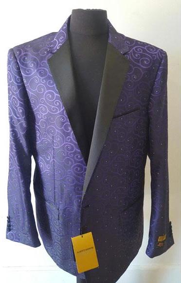 Purple Buttons Closure  Floral Sportcoat