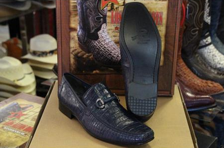 Navy Blue Genuine Crocodile Lizard Loafer Dress Los Altos Shoe for Men