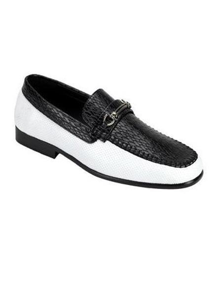 Mens Vintage Style Shoes| Retro Classic Shoes Black White Antonio Cerrelli 6685 Synthetic Mens Loafers $85.00 AT vintagedancer.com