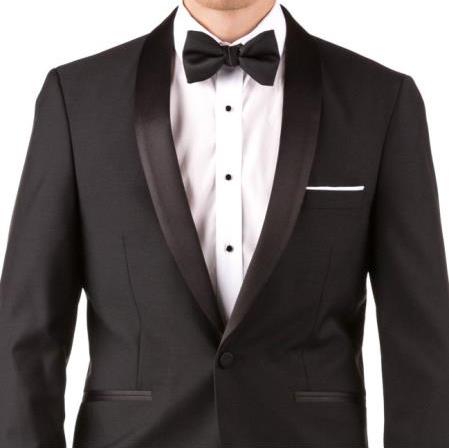 Buy Online Instead of Rental Slim Fit Shawl Lapel Groom & Groomsmen Wedding Suits & Tuxedo Online + Black + Free Shirt & Tie