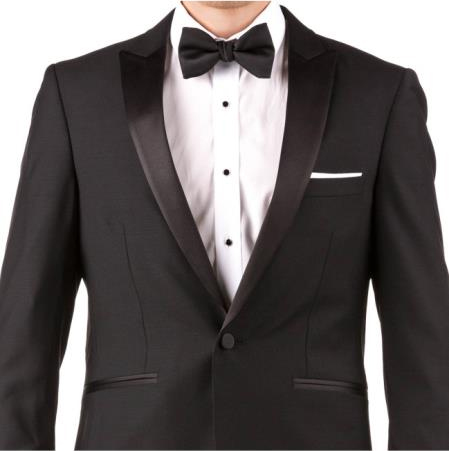 Mens Black 100% Super 140s Merino Wool Suit