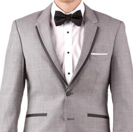 Buy Online Instead of Rental Slim Fit Notch Lapel Groom & Groomsmen Wedding Suits & Tuxedo Online + Light Gray + Free Shirt & Tie