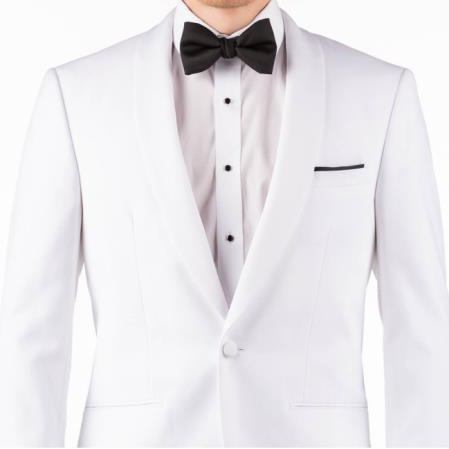 Mens White 80% Polyester, 20% Rayon One Button Suit