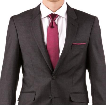Men's Slim Fit Suit - Fitted Suit - Skinny Suit Men's Charcoal 100% Wool Wedding Suit