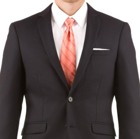 Mens Navy 100% Wool Two Button Wedding Suit