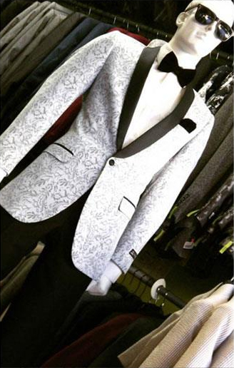 Silver Light Grey ~ Black Patter Shawl Lapel Dinner Lapel Slim Fit Sport coat Jacket
