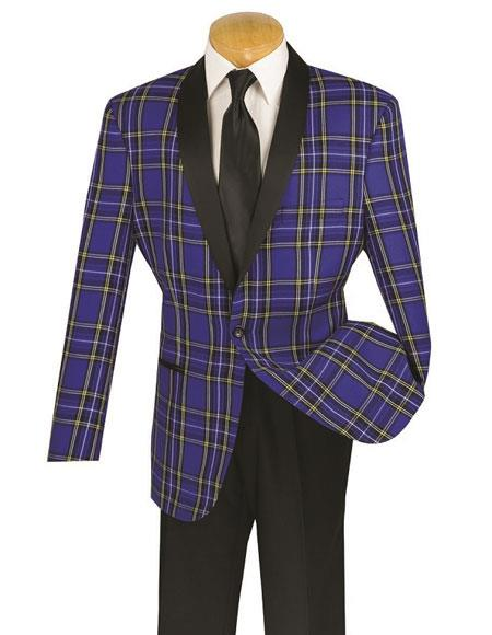 1960s Mens Suits | 70s Mens Disco Suits Vinci Mens One Button Single Breasted Blue Plaid Slim Fit Tuxedo T-RW $129.00 AT vintagedancer.com