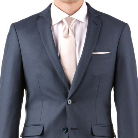 Buy Online Instead of Rental Slim Fit Groom & Groomsmen Suits Wedding Suits & Tuxedo Online + Slate Blue + Free Shirt & Tie