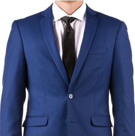 Men's Slim Fit Suit - Fitted Suit - Skinny Suit Men's Bright Blue  Suit