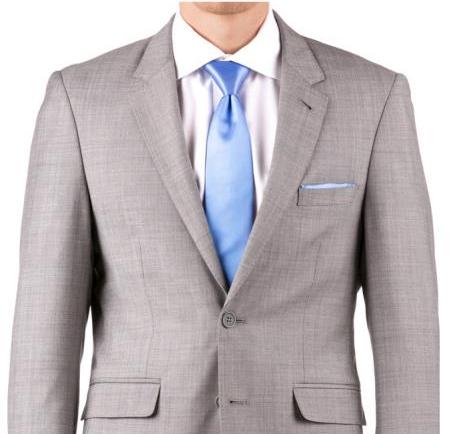 SKU#SM4021 Buy Online Instead of Rental Slim Fit Notch Lapel Groom & Groomsmen Wedding Suits & Tuxedo Online + Gray Sharkskin + Free Shirt & Tie