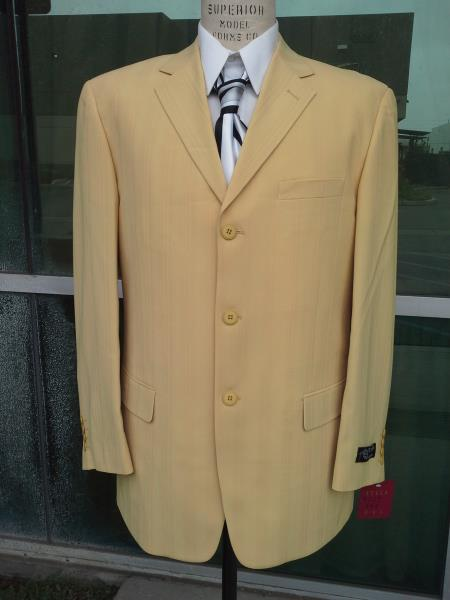 1970s Men's Suits History | Sport Coats & Tuxedos Br3 Button Gold Shadow Stripe Wide Leg Pleated Pants $175.00 AT vintagedancer.com