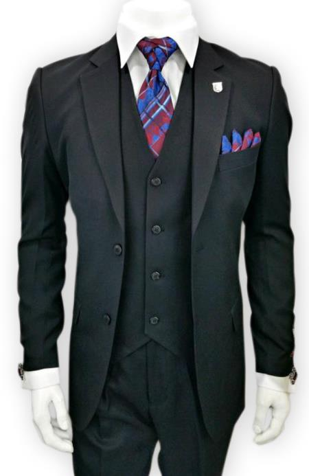 Alberto Nardoni 3 Piece Black 2 Button  suit (Wholesale Price $95 (12pc&UPMinimum)) $175