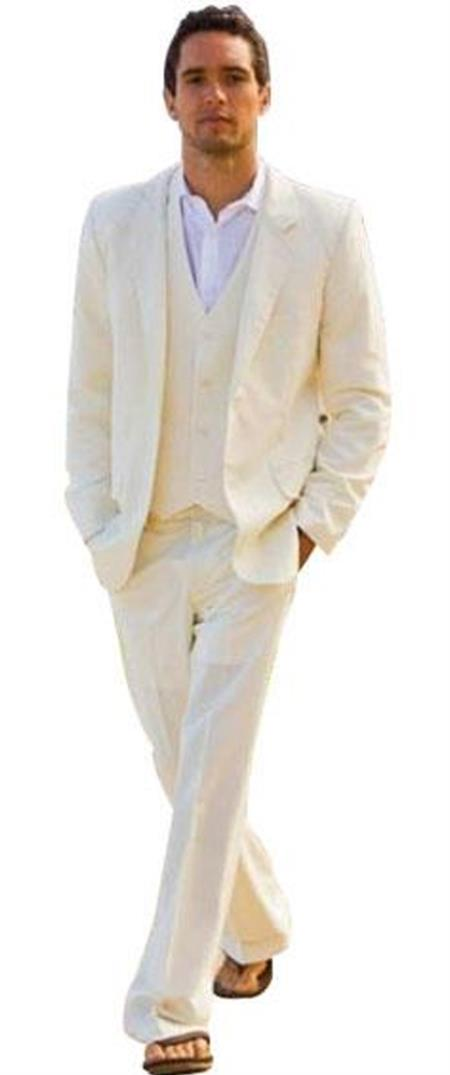 Alberto Single Breasted Nardoni Ivory ~ Cream ~ Off White 2 Button Vested 3 Piece Suit Light Wool Notch Lapel Flat Front (Wholesale Price $95 (20PC&UPMinimum))
