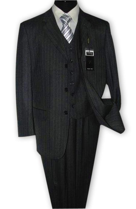 Alberto Nardoni 3 Button Vested Suits 100% Wool Suits Vested Charcoal Grey Stripe ~ Pinstripe Pleated Pants (Wholesale Price $95 (12pc&UPMinimum)) $175