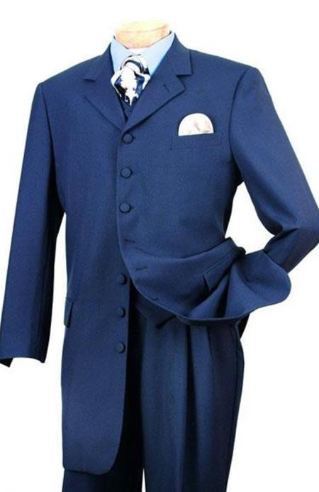 WTXZoot200 Dark Navy Blue  Zoot Fashion Vested Suit 1920s 1940s Mens Clothing