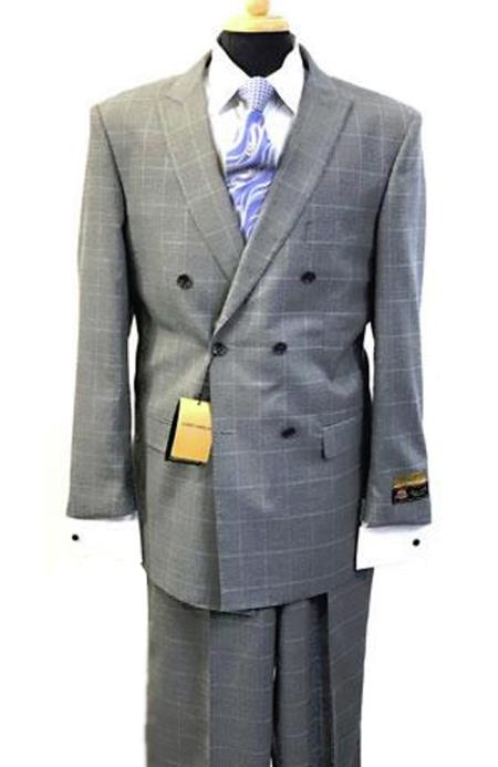 1940s Mens Suits | Gangster, Mobster, Zoot Suits Alberto Nardoni Breasted Glen Plaid Wool Window Pane Pattern Suit $170.00 AT vintagedancer.com