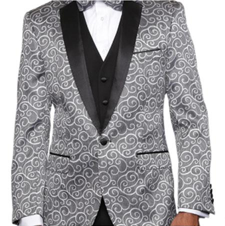 Paisley-200VP Silver Two Toned Paisley Blazer or Tuxedo Suit Vest + Pants Vested + Black Lapel Blazer Looking