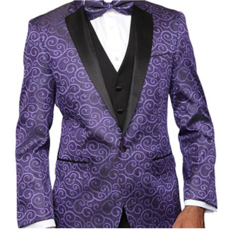 SKU#Pasily-200AP133 Purple Paisley-200VP Alberto Nardoni Brand Two Toned Paisley Sequin Blazer or Tuxedo Suit Vest + Pants Vested + Black Lapel Blazer Looking