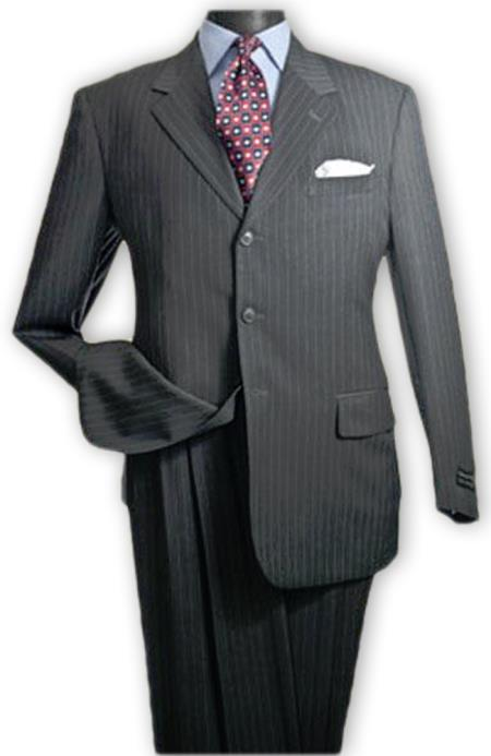 Albeto Nardoni Charcoal Grey Pinstripe ~ Three ~ 3 Buttons Stripe Wool Suit Pleated Pants