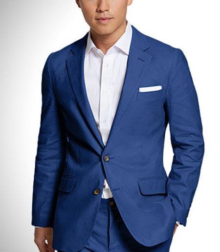 mens 2 button notch lapel linen fabric summer suits