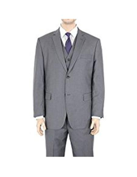 Buy AP143 Mens 2 Button Classic Fit Gray Solid Twill Suit (We Braveman suits Call 1-844-650-3963 order)