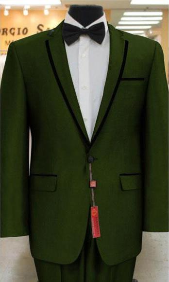 Sku Gd97 Men S 2 Button Tuxedo Olive Green Notch Collar O