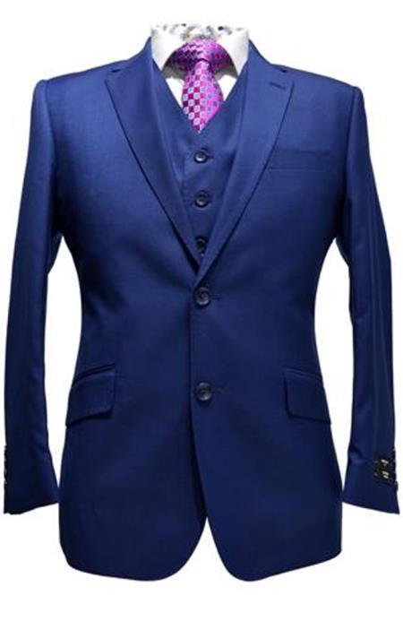 mens Indigo ~ Bright Blue ~ Cobalt ~ Teal Blue Blue Pick Stitched 2 Button Suit Pleated pants