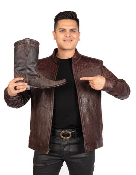 Mens Exotic Skin Brown Ostrich ~ World Best Alligator ~ Gator Skin ~ Caiman Jacket