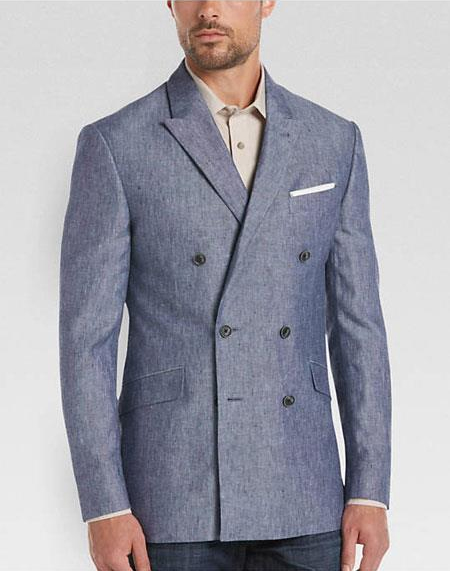 Men's Blue 6 Buttons Double Breasted Linen Sport Coat