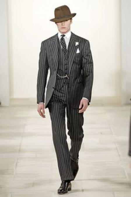 Men's Vintage Style Suits, Classic Suits 2 Button Black and Bold Chalk Gangster White Stripe Vested Big Notch Lapel 1920 1930 Suit Flat Front pants Pants $175.00 AT vintagedancer.com