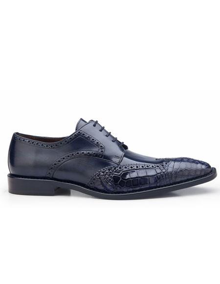 mens belvedere urbano crocodile & calfskin wingtip shoes blue safari