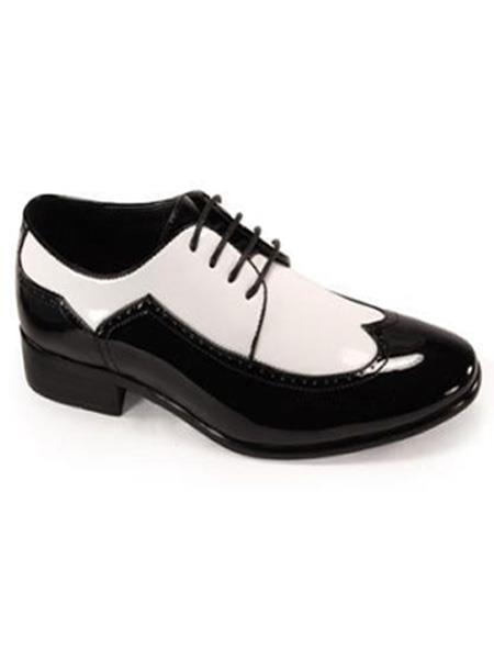 Men's 1950s Shoes Styles- Classics to Saddles to Rockabilly Bold Black White Wingtip 2 toned Shiny Dress Shoe 1920s Gangster Style $75.00 AT vintagedancer.com