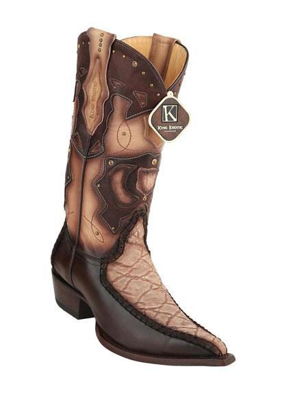 men's king exotic embroidered genuine elephant skin brown boots
