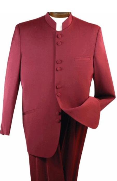 Alberto Nardoni Burgundy ~Maroon Suit  ~ Wine Mandarin Collar Suit