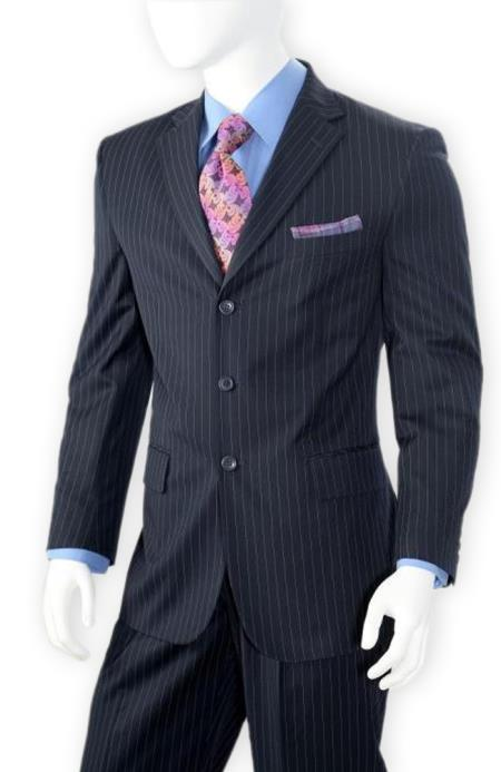 Albeto Nardoni Dark Navy Blue Pinstripe ~ Three Buttons Style suit ~ 3 Buttons Stripe Wool Suit Pleated Pants