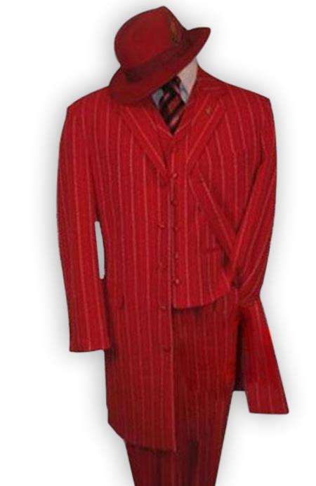 Red and White Gangster 1920s Fashion Pinstripe Vested Zoot Suit
