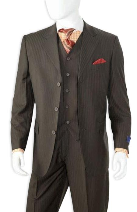 1920s Men's Clothing Mens Black Shadow Stripe 3 Buttons Shadow Stripe Vested Suit $225.00 AT vintagedancer.com