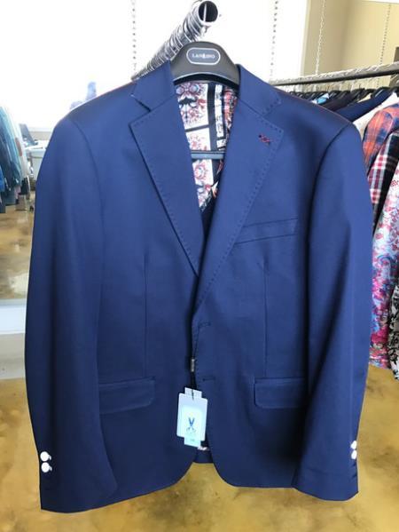 Cotton Fabric Mens Blazer Light Navy ~ Cobalt Blue Pick Stitched Lapel Sport coat