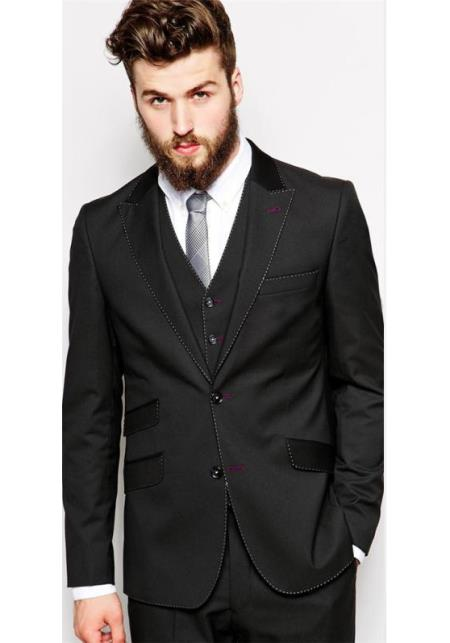 mens hand pick stitching contrast lapel & pocket with any color (your choice) two toned custom make suit any color suit & any co