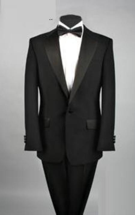Men's Vintage Style Suits, Classic Suits Cheap One Button Black Tuxedo Polyester Blend $109.00 AT vintagedancer.com