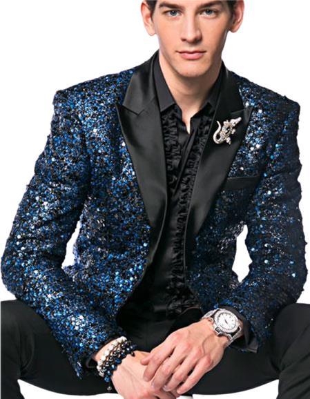 Fashion Unique Brand Men's Blue Sequin paisley Dinner Jacket Tuxedo Blazer glitter sparkly Sport coat peak lapel 10 days delivery custom make
