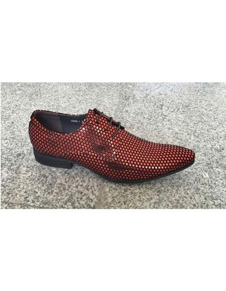 zota brand men's man made foil dot pattern red lace up genuine leather footwear